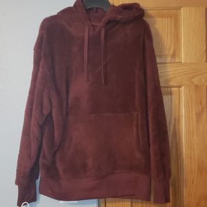 Large burgundy sherpa sweatshirt